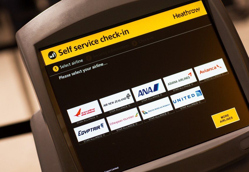Air India Logo on the check-in kiosks at London Heathrow Terminal 2