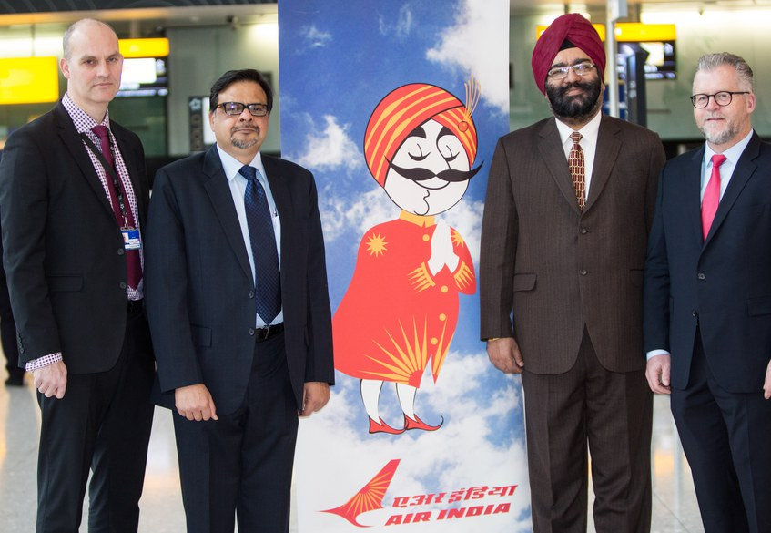 Air India and Star Alliance management celebrating Air India's move to Terminal 2 at Heathrow