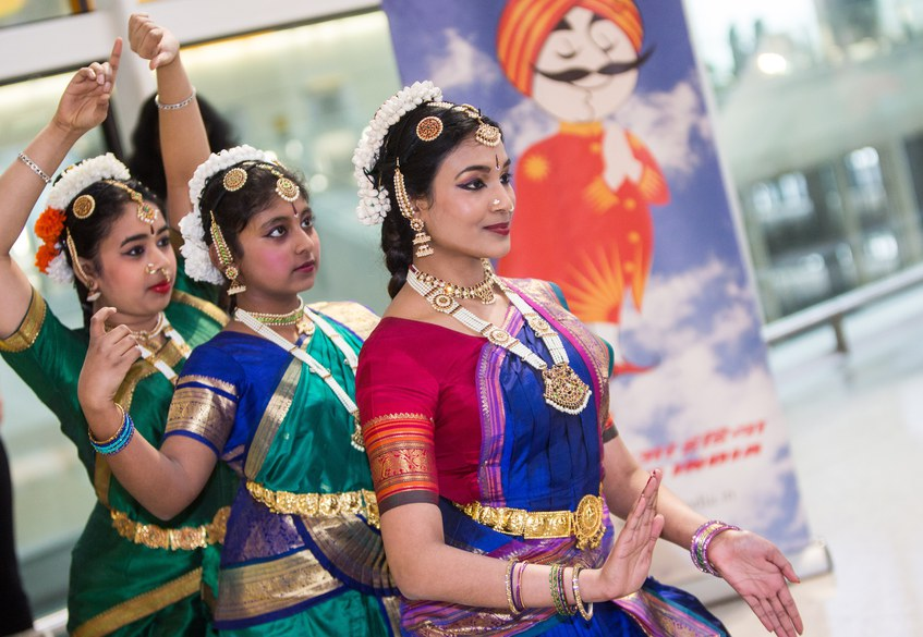 Indian dancing at Heathrow Terminal 2